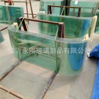 U形弯钢化玻璃电动餐车玻璃小吃车玻璃 蛋糕柜冷柜弧形加工定制